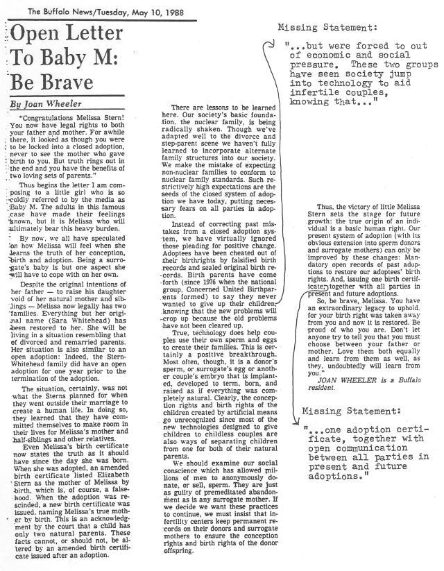 12-OpenLetterToBabyM-BeBrave 5-10-88