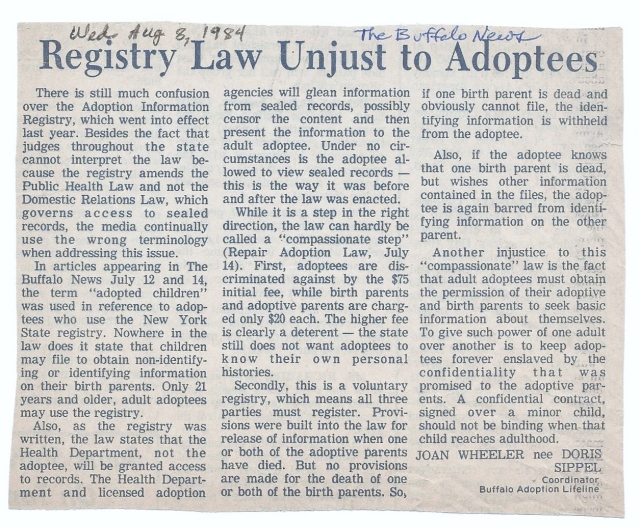 1984-8-8 Registry Law Unjust to Adoptees