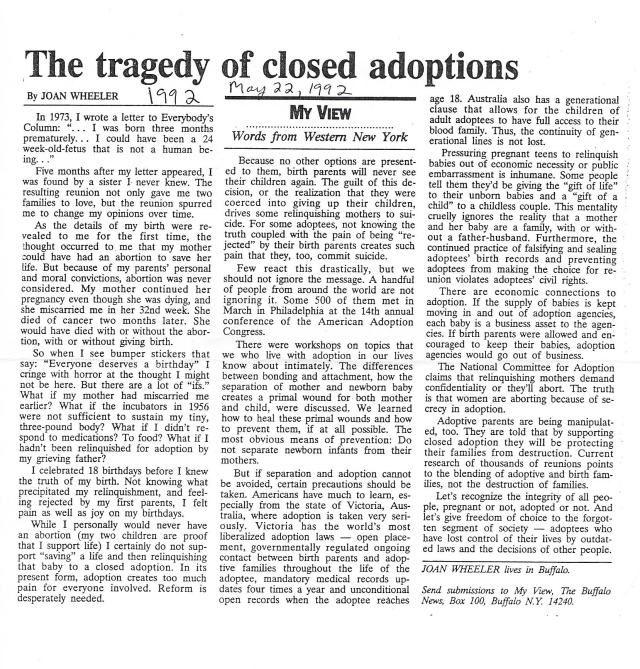1992-5-22 The Tragedy of Closed Adoptions