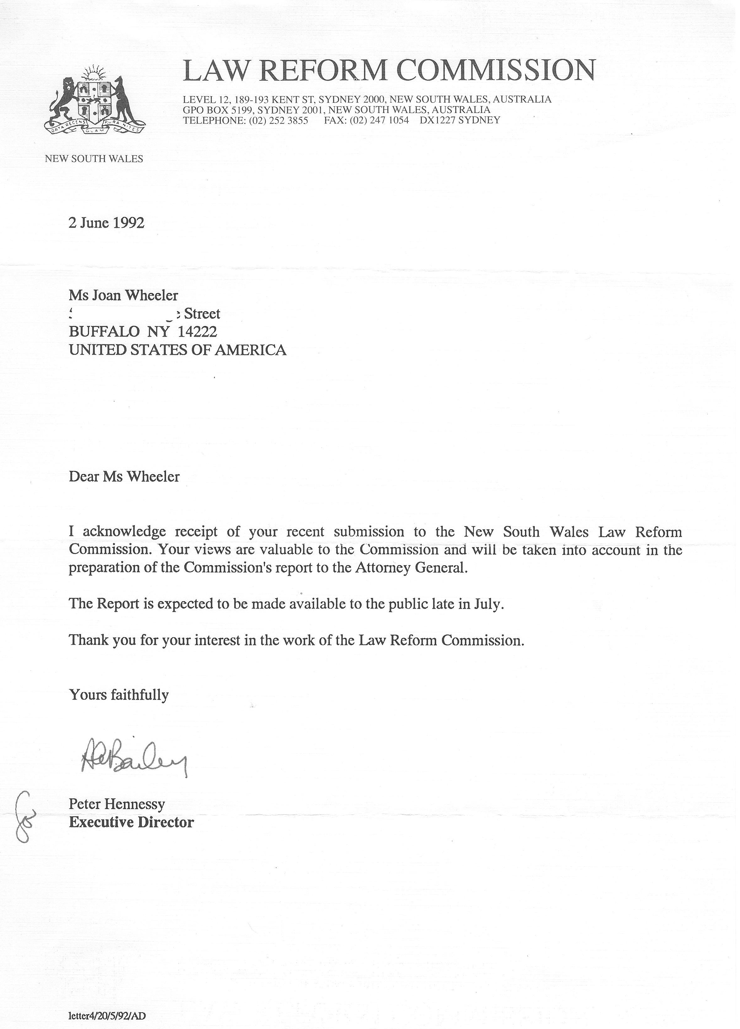 1992 australia law reform commission forbidden family lawreformcommissionreplyfromdirector newsouthwales australia 1999 aiddatafo Gallery