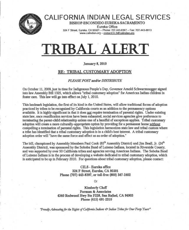2010-01-01 California Tribal Customary Adoption Harmonizes State Law and Tribal Custom