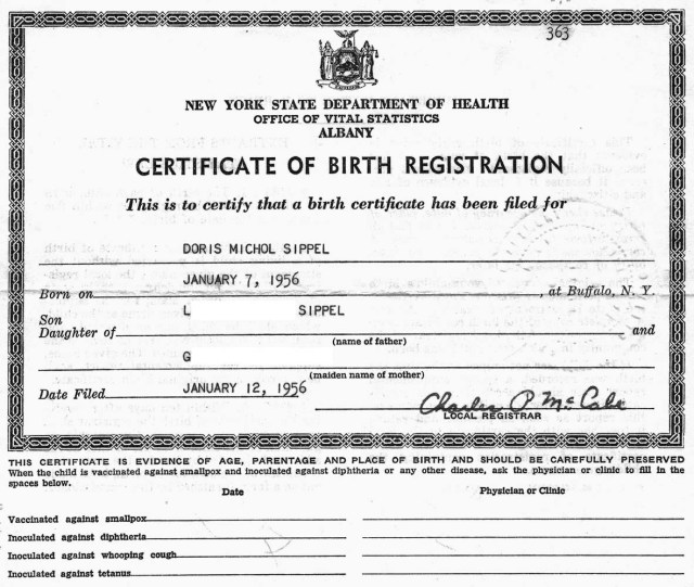 Amended Birth Certificate – FORBIDDEN FAMILY