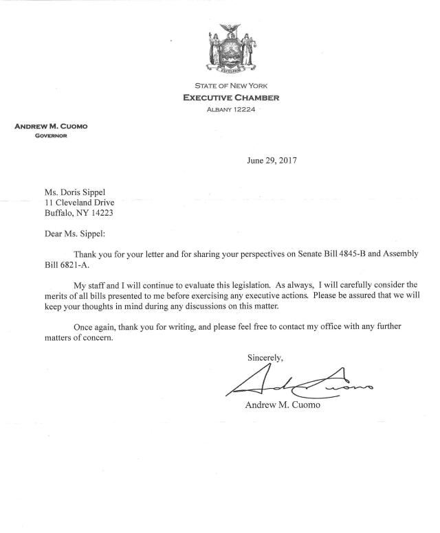 2017-6-29 letter from NYS Gov Andrew Cuomo - adoptees' bill